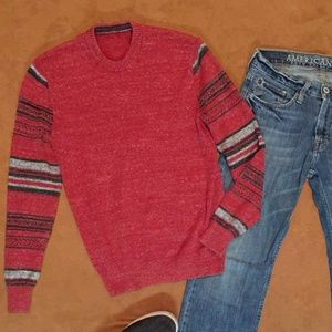 American Eagle Burgundy Aztec Print Men's Sweater